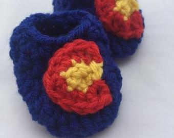 Crochet Royal Blue Colorado Baby Booties