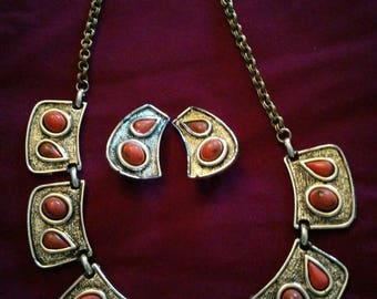 Vintage 60's Antiqued Goldtone Necklace and Earrings with Orange Stones