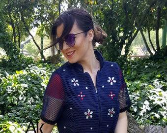 Blue  Jacket  / New Jacket by Anna Karinna Design / Jacket / Cotton Jacket / Jacket with pearls