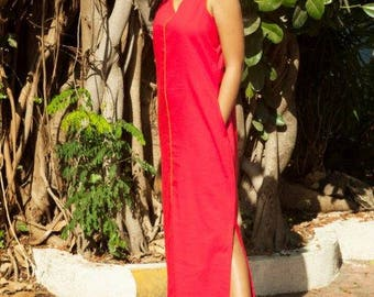Flame Red Maxi Dress