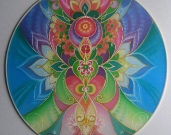 Silk Art Mandala....Health and Love...Healing home decoration on silk..Hand painted silk