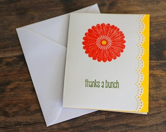 Thanks a Bunch,Greeting Cards,Embossed,Thank You,Floral, Set of 10, Set of 5