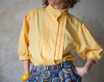 Vintage Yellow Mandarin Colar Blouse