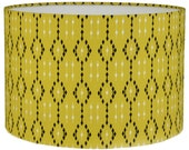 IKAT Lime  Geometric Style Cylinder / Drum Lampshades / Pendant Shade / Table