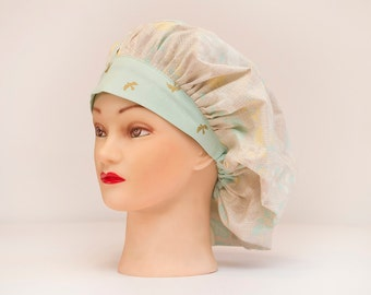 Spring Floral with Birds Bouffant Scrub Hat