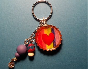 Rainbow love keychain