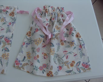 Underwear Bags (Set of Two) 13.5 inch Square approx.Cream Polyester Cotton with Botanical flowers.Drawstring top