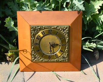 GE 1960's brass and wood wall clock, Mid century wall clock, MCM kitchen clock, boho wall clock