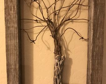 Barb wire Tree , desert weathered Worn Barn Wood.
