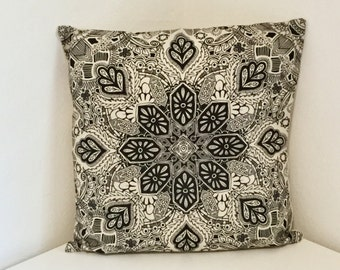 Cushion Cover, Geometric Cushion, Mandala Print Pillow, Black & White Boho Design Cover