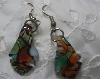 Stained glass multi colored pierced earrings