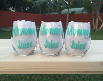 Mommy Juice 21 oz. Stemless Wine Glass Personalized| Mother's Day Gift