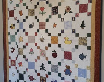 "A Few of My Favorite Things quilt for wall or child, 65""x52"""