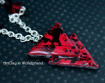 Poison, geometric, red and black triangle necklace