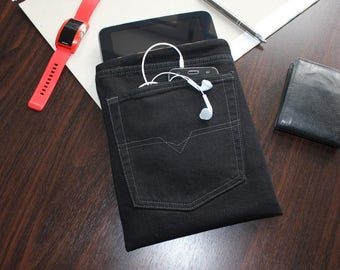 iPad 1 case, iPad 2 case, iPad 3 case, iPad 4 case,  iPad Sleeve, Tablet Case, cover,  gift, gift for men, vinatge jeans, accessories, black