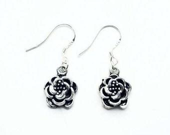 Flower 925 Sterling Silver Hook Earrings