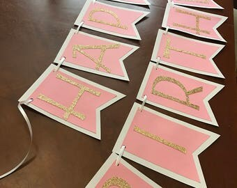 Pink Gold Glitter Banner - Birthday Banner - Cake Smash Happy Birthday Banner - Photo Shoot Banner - Baby Shower Banner