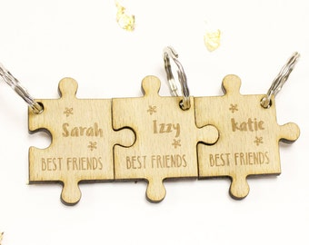Personalised Friendship Keyrings, Best Friends Gifts, Jigsaw Pieces, Wood Charms