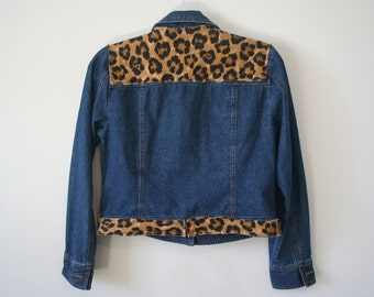 Denim & leopard / cheetah jacket (upcycled), size M
