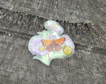 Butterfly with Gold Ladybird Resin Brooch