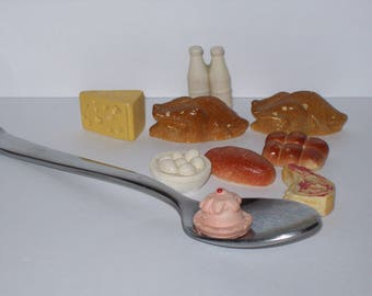 Playtown Miniature Toy Food Groceries Meat Bakery Dairy Play Doll Food Collectible Miniature Toys Miniature Turkey Steak Bread Milk Eggs