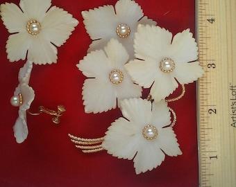 Napier white flower pin and clip earrings