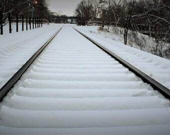 Train Bridge - Train Tracks, Snow, Winter Travel, Cityscape