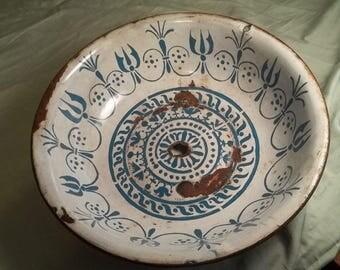 Hand Painted Vintage Enamelware Bowl