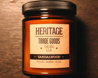 Sandalwood Candle by Heritage Trade Goods - Wood, Amber, Musk, Oriental, Floral