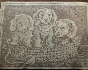 Adorable Puppy Lace Panel, for Pillow Top or Wall Hanging