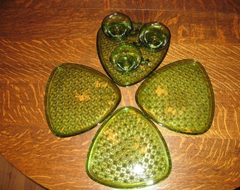 Green Pressed Glass Snack Trays/Cups