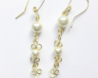 Gold Tone Wire Wrapped Swarovski Crystal Pearl Dangle Earrings