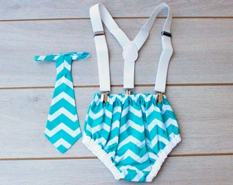Teal And White Chevron Print Cake Smash Outfit - Photography Prop