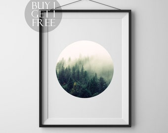 Forest wall print Forest print Circle print Printable wall art Forest photography Minimalist art Circle photo Nature art