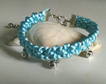Braided ankle strap with bells-light blue