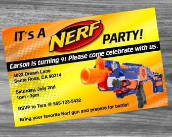Nerf Birthday Party Invitation Custom Made - Very high quality and fast turn around!