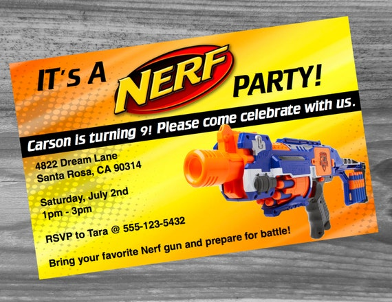 Nerf War Party Invitations as Awesome Design To Create Fresh Invitation Card