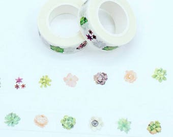 Succulents Washi Tape Plants Flowers Leaves Decorative Masking Tape