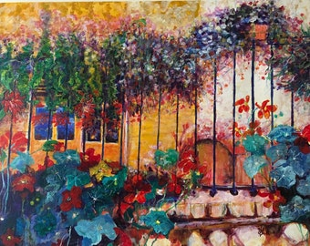 The Yellow House with Nasturtium-flowers-oil paintings-Dim. 105 x 80 cm
