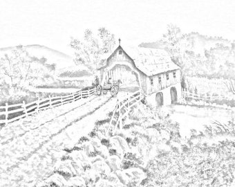 The Covered Bridge Adult Coloring Page