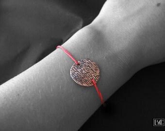 Cord bracelet red medallion pattern copper writing