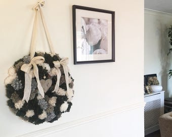 Pom Pom All Year Round Wreath/Door Hanging for Any Room in the House