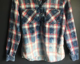 Size small long sleeve women flannel bleached distressed upcycled and dipped dyed