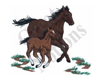 Horse Mare And Colt - Machine Embroidery Design