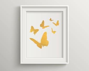Butterfly Gold Foil Print, Flying Butterflies, Gold Print, Art Print in Gold, Illustration Gold Foil, Butterfly Gold Foil Art Print