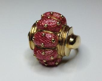 Estate 18K Yellow Gold Pink Enamel Designer Dome Cocktail Ring 21 Grams Size 7