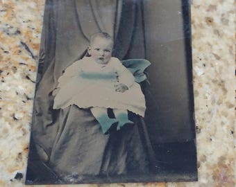 Find Mother:  Hidden Mother Antique Hand Tinted Tintype Photograph of Young Child and Hidden Mother