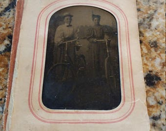 Babes on Bikes:  Antique Tintype Photograph of Two Women on Bicycles 1892