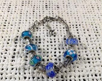 Blue glass bead silver bracelet