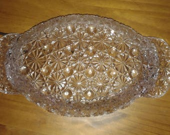 Cut Clear Glass Vintage Fruit Bowl